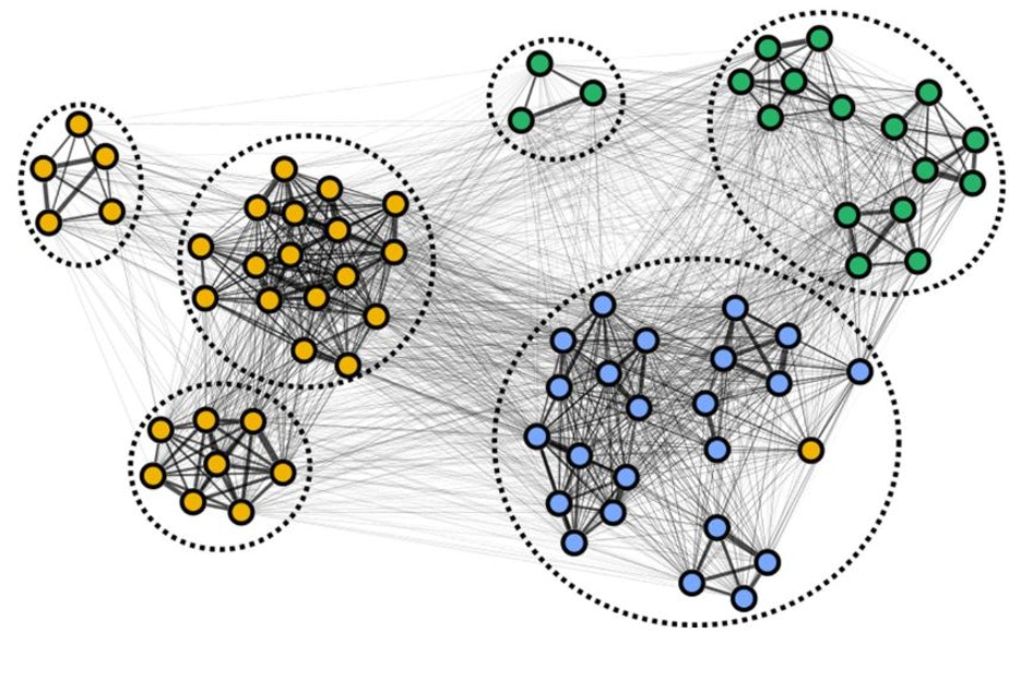 caption: Endangered orcas' social networks. Dashed ovals show orcas' main social clusters, while line thickness indicates the likelihood of a whale in J (blue), K (green) or L (orange) pod surfacing close enough to inhale another orca's breath.