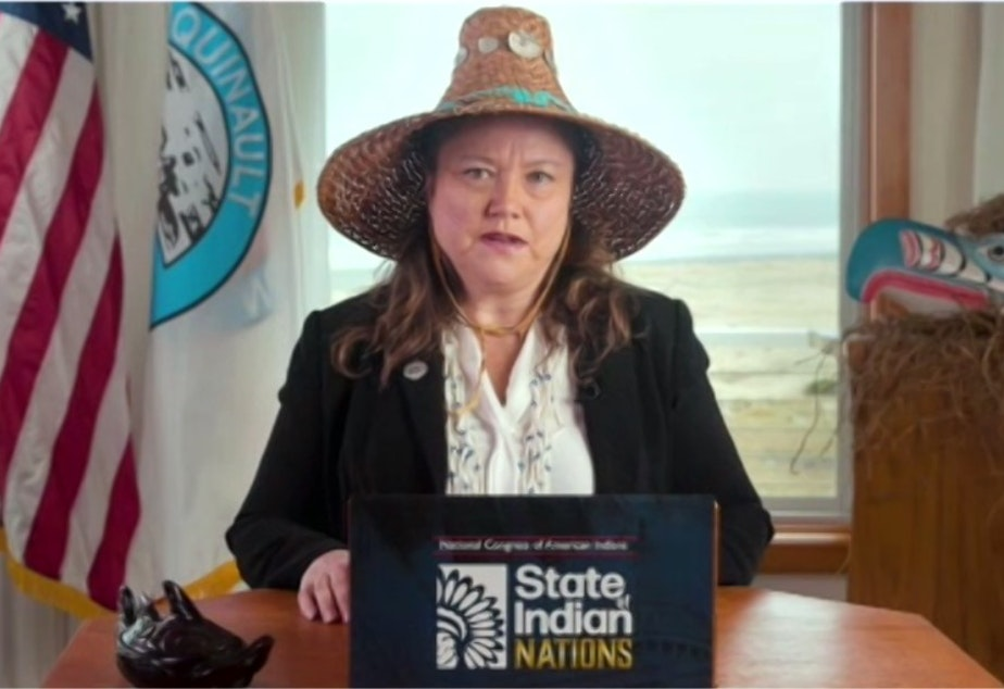 caption: Quinault Indian Nation and National Congress of American Indians president Fawn Sharp delivers the State of Indian Nations speech on Feb. 22.