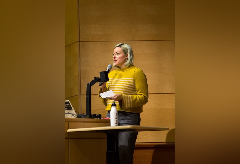Candace Faber speaking at a technology event at the University of Washington in 2017.