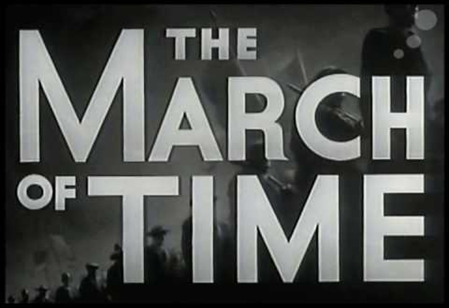 """caption: Screenshot of """"The March of Time"""" show."""