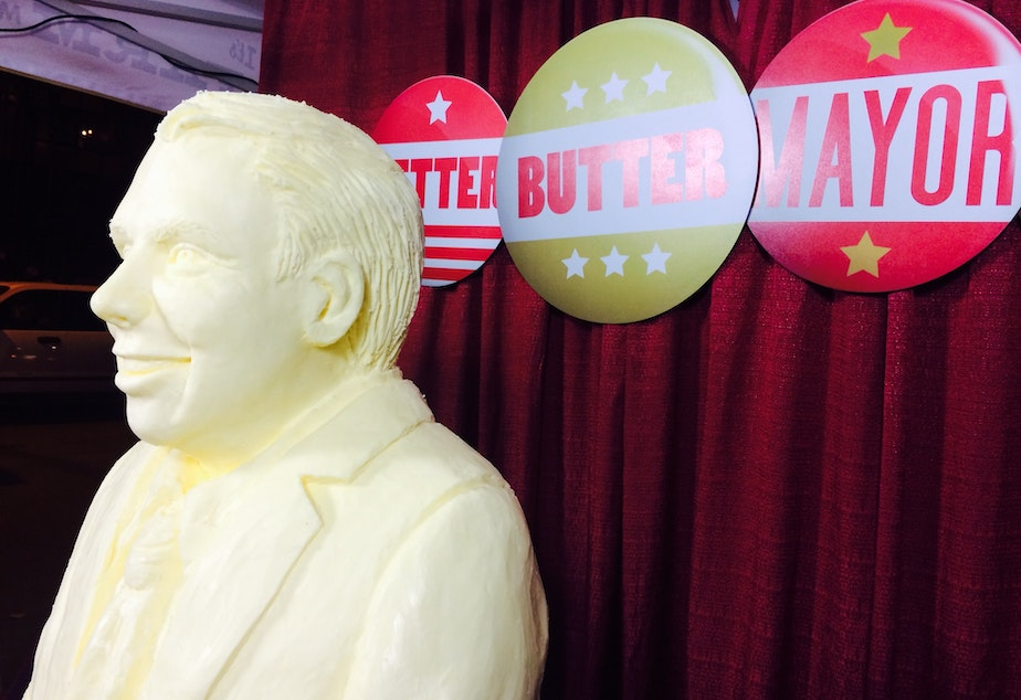 Murray's entry into the butter sculpture battle, only slightly overshadowed by the Seattle mayor's race.