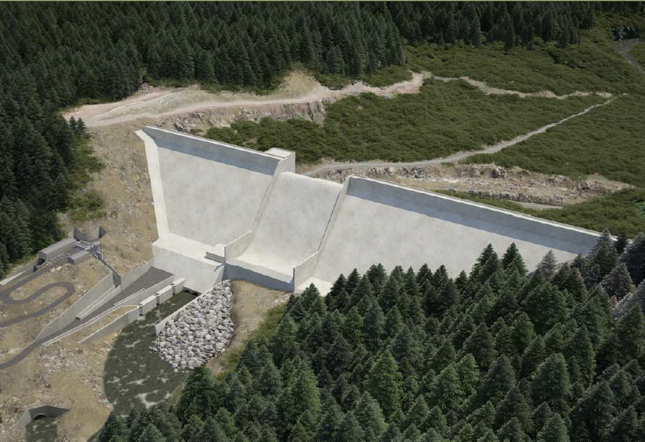 caption: An artist's rendering of a proposed flood-control dam on the Chehalis River in southwestern Washington during non-flood conditions.
