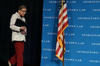 U.S. Supreme Court Justice Ruth Bader Ginsburg arrives at a lecture on Sept. 26 at Georgetown University Law Center in Washington, D.C. Ginsburg has been hospitalized after falling and fracturing several ribs.