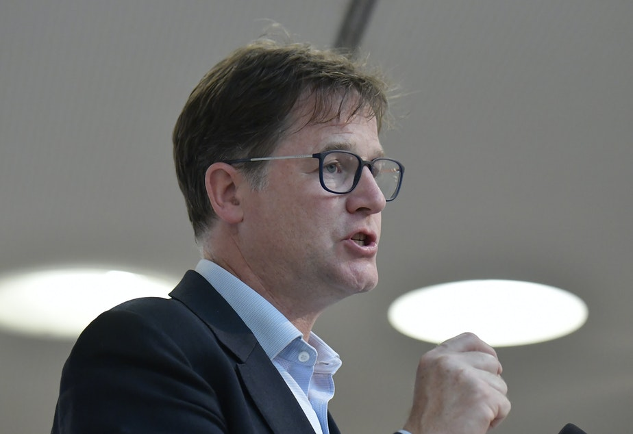 "caption: Facebook Vice President Nick Clegg, pictured in 2019, tells NPR there's ""real appetite for people to find out more for themselves"" when it comes to climate change and factual information."