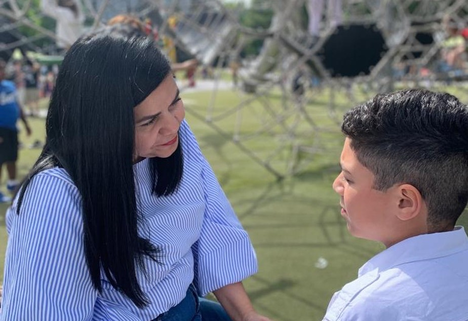 caption: Maria Barrios and her son, who began treatment for anxiety at Seattle Children's Hospital at age 6. He's now 10.