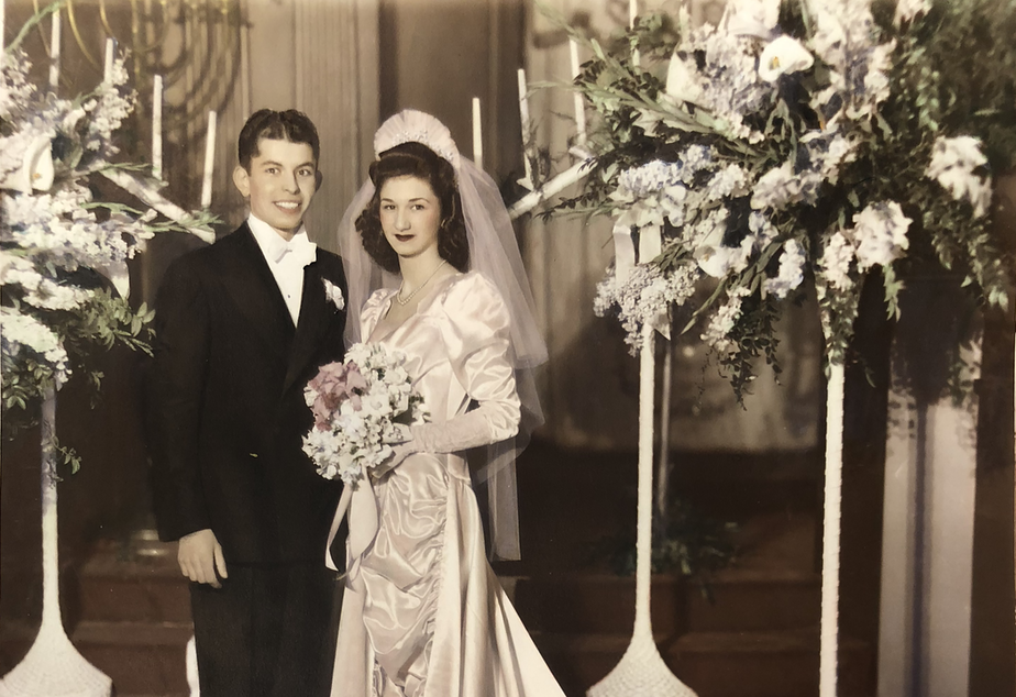 Jack and Becky Benaroya on their wedding, February 14, 1942.