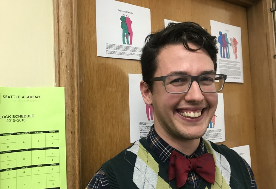 caption: Lewis Maday-Travis says coming out as trans has made him a better science teacher. KUOW's story on Maday-Travis fueled conversation about LGBTQ visibility in schools at KUOW's first Queeriosity Club dinner on June 7, 2019 at The Cloud Room in Seattle. Reporter Ann Dornfeld who reported Maday-Travis' story participated in the dinner.