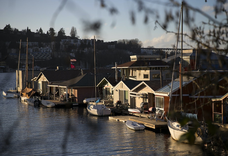 Houseboats are lined up on Tuesday, January 30, 2018, off of Fairview Avenue East in Seattle.