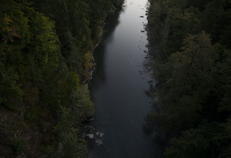 caption: The Elwha River is shown on Wednesday, September 4, 2019, near Port Angeles.