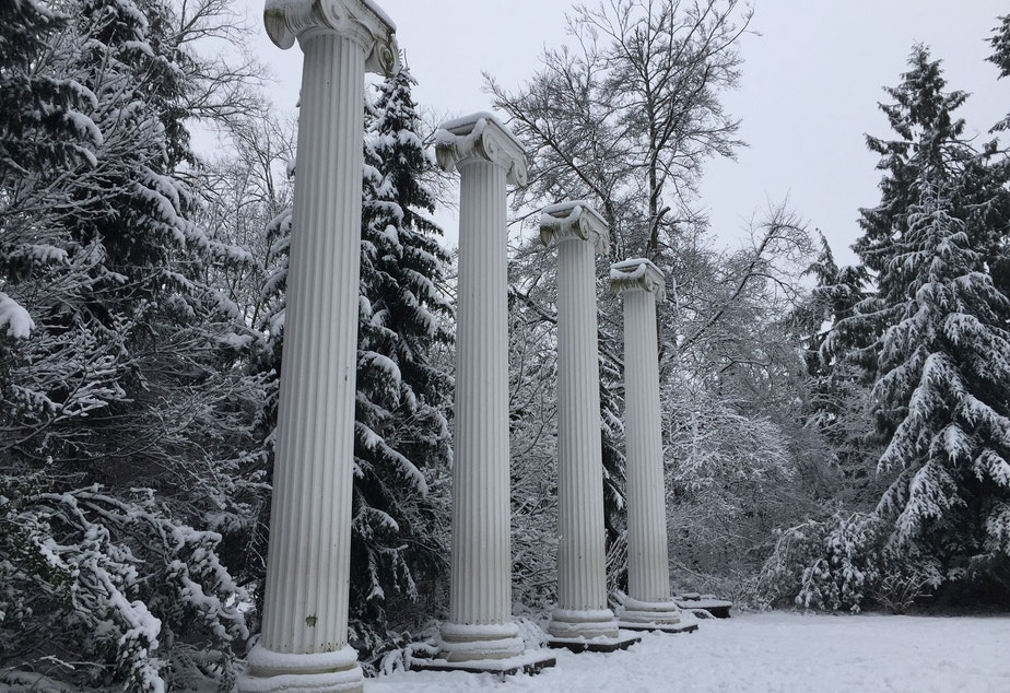 Pillars and snow in the University District on Saturday, Feb. 9, 2019.