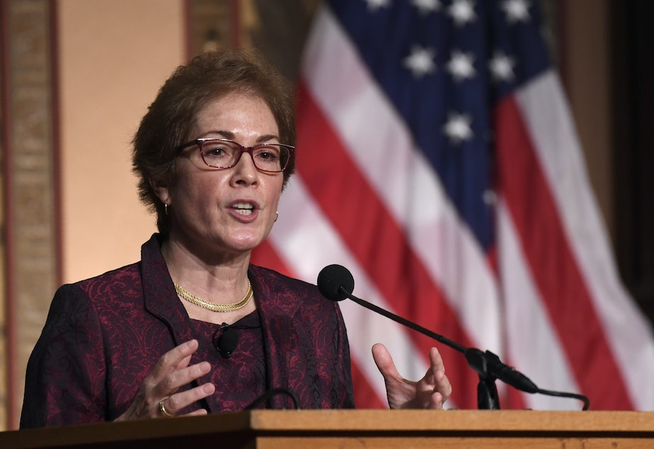 caption: Former U.S. Ambassador to Ukraine Marie Yovanovitch speaks at Georgetown University on Wednesday, where she received the Trainor Award for excellence in diplomacy.