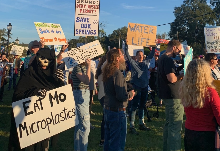 Activists demonstrated recently in High Springs, Fla., to oppose Nestlé's plan to withdraw more than a million gallons of water a day from Ginnie Springs.