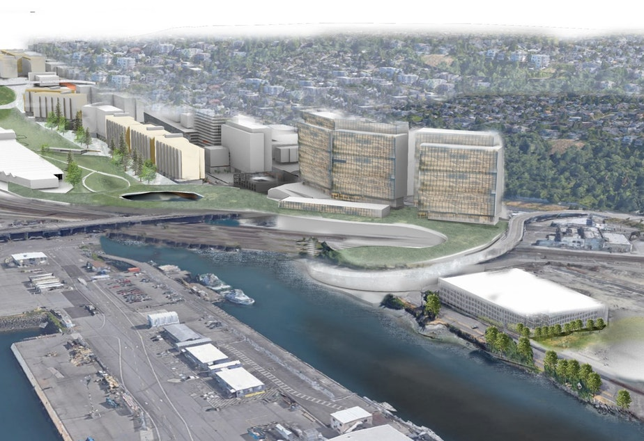caption: A view from Smith Cove of a proposed new neighborhood in Seattle's Interbay area.