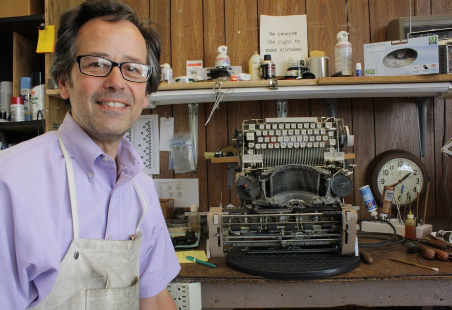 Paul Lundy repairs typewriters for a living.