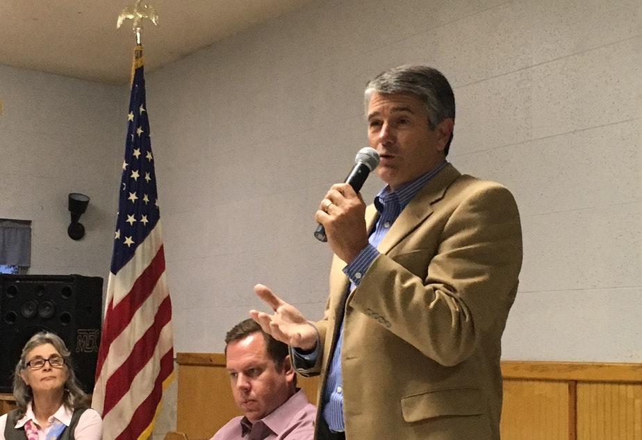 caption: Keith Goehner (R, Dryden) at a recent candidates' forum at the American Legion in Brewster.
