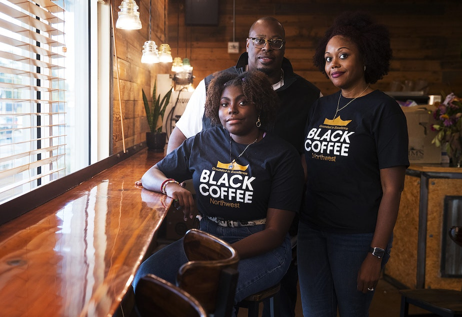 caption: From left, Mikayla Weary, Erwin Weary Sr., and Darnesha Weary are portrayed at their new business, Black Coffee Northwest, on Thursday, October 15, 2020, along Aurora Avenue North in Shoreline.