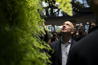 Jeff Bezos looks up at a living wall during the grand opening of Amazon's spheres in Seattle in January.