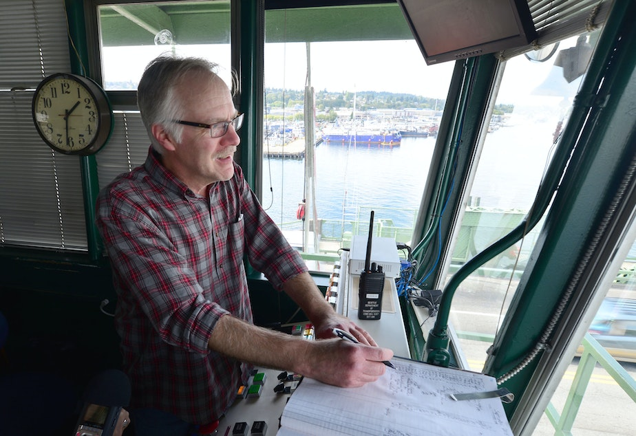 Bridge tender David Leask has worked in the control tower at the Ballard Bridge for 18 years.
