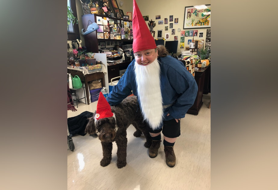 """caption: Eyva Winet and their dog Mo dressed up for """"gnome day"""" at Nova Highschool in the 2019-2020 school year."""