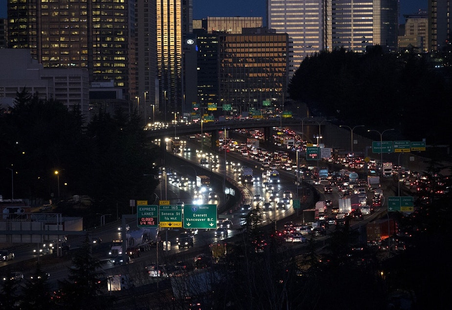 caption: Traffic crowds Interstate 5 through downtown Seattle on Monday, January 14, 2018, on the first commuting day after the closure of the Alaskan Way Viaduct.