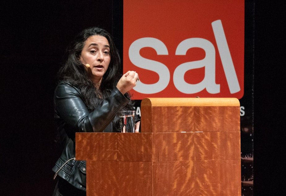 caption: Author and activist Soraya Chemaly at SAL Benaroya Hall event.