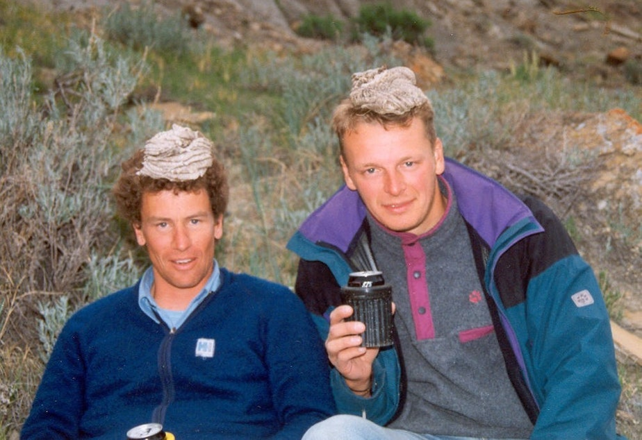 caption: Ian Ross and Chris Morgan with cowpie headwear in 1995.