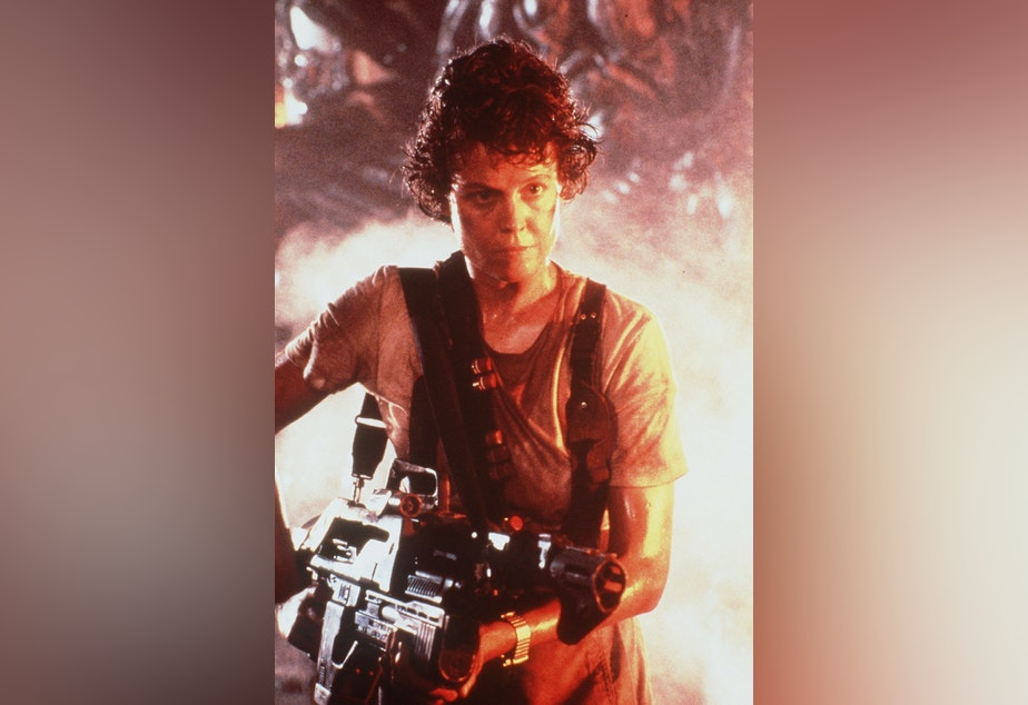 "caption: Sigourney Weaver is shown in this 1986 photo from the movie ""Aliens""."