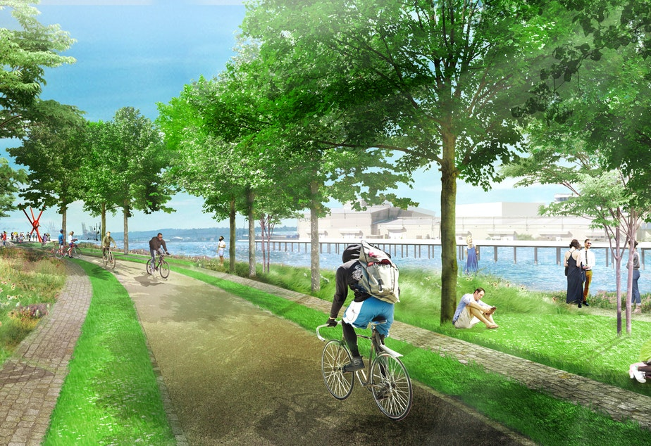 New waterfront bike path along the edge of Expedia's new Seattle campus (rendering)