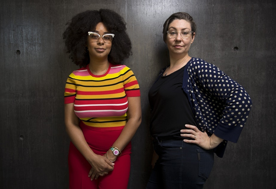caption: Eula Scott Bynoe and Jeannie Yandel are co-hosts of Battle Tactics For Your Sexist Workplace.