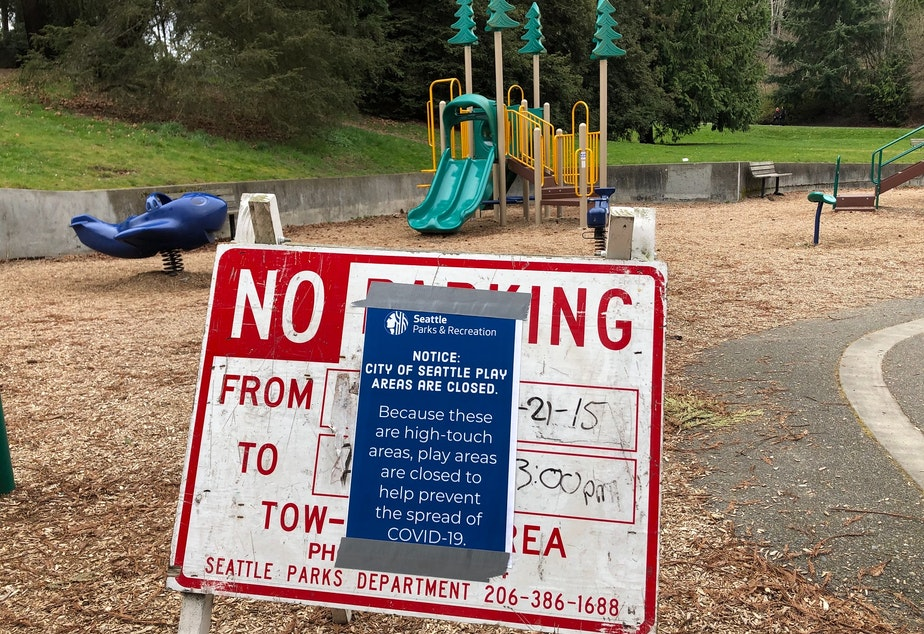 "caption: Matthews Beach on Sunday, March 22, 2020. The play area was closed ""because these are high-touch areas"" and the City of Seattle is trying to prevent the spread of coronvirus."