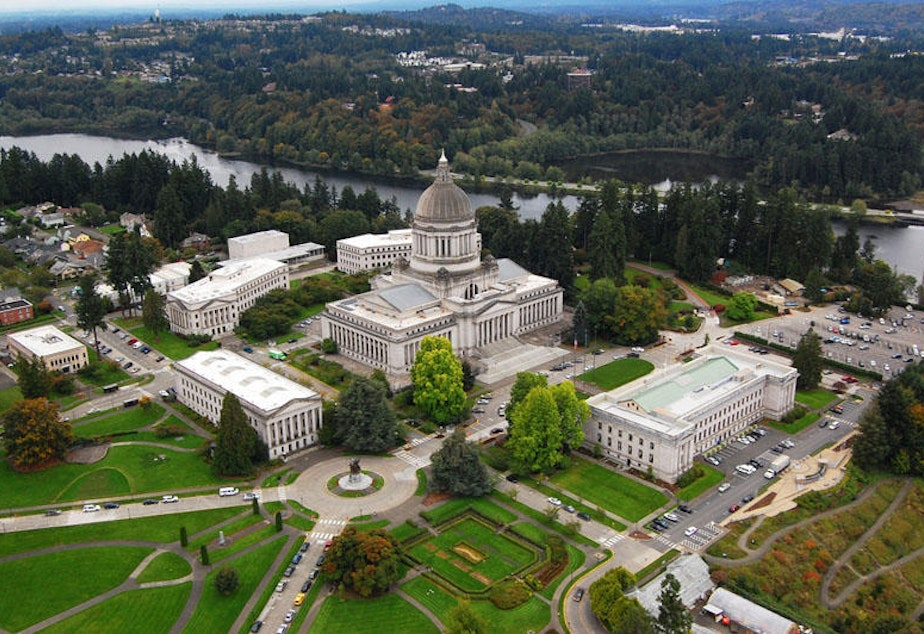 caption: The Washington state government campus in Olympia