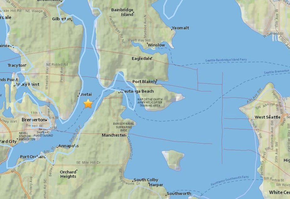 Kuow 34 Magnitude Earthquake Shakes Puget Sound Region - Puget-sound-on-us-map