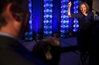 Kim Schrier spoke to supporters on Tuesday, November 6, 2018, at the Hilton in Bellevue. Early results showed Schrier, Democrat and a pediatrician, ahead of Republican Dino Rossi in the 8th congressional district race. Tap or click on the first image to see more.