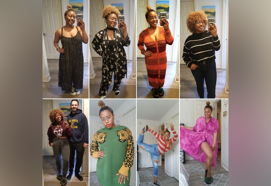 caption: Ishea Brown shares a few of her Covid-19 work-from-home styles.