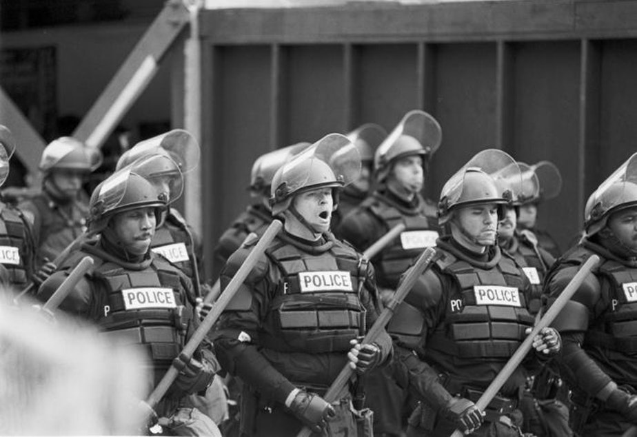 Police used tear gas to clear the streets of protesters during the WTO convention in Seattle on Nov. 29, 1999.