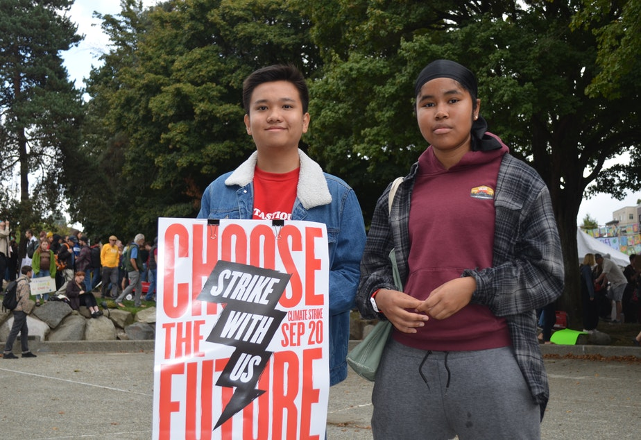 An Nguyen and friend Andrea Hitti-Magee joined the student strike at Cal Anderson park in Seattle.