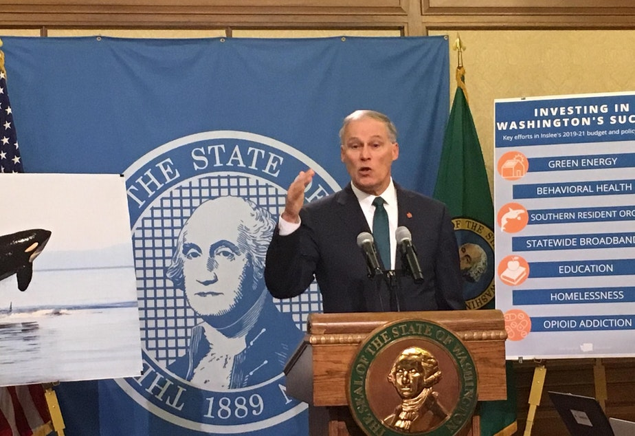 caption: In this file photo, Gov. Jay Inslee addresses reporters at a news conference. On Tuesday, the Democrat blasted a group of House Republicans who filed a lawsuit challenging the constitutionality of his emergency proclmations.