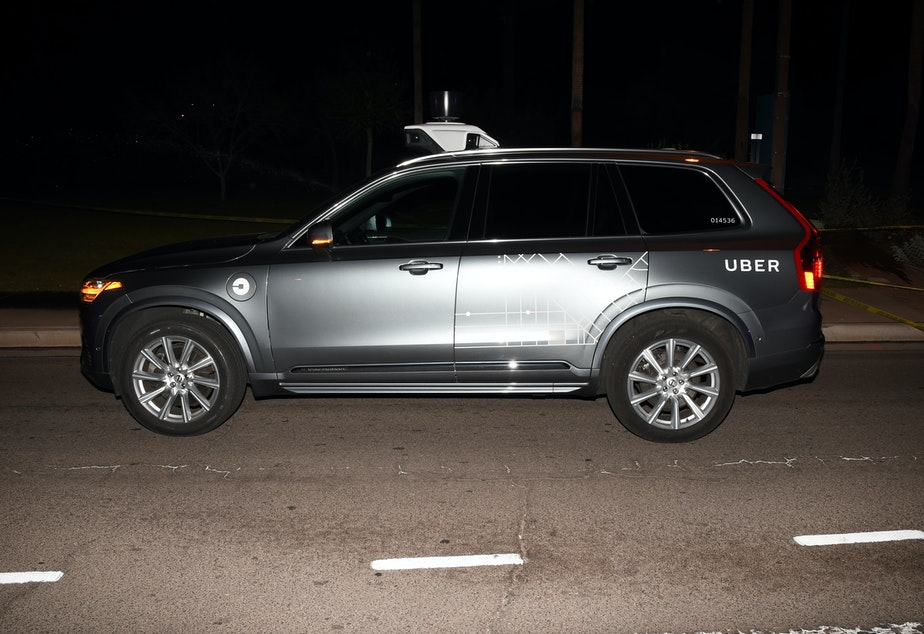 caption: The self-driving Uber SUV that struck pedestrian Elaine Herzberg on March 18, 2018, in Tempe, Ariz.
