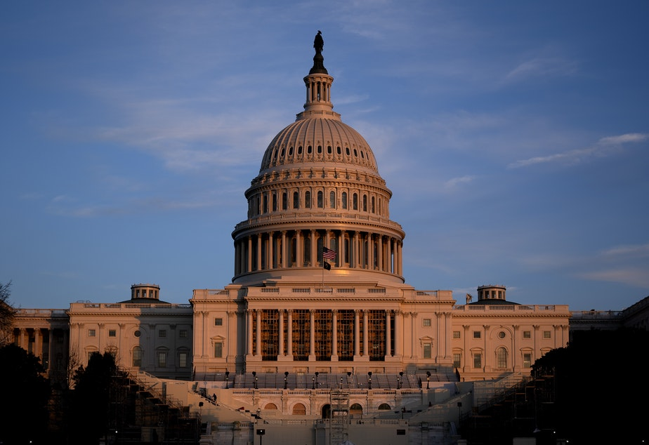 caption: The U.S. Capitol Dome is seen on Thursday, the morning after a pro-Trump mob stormed the building as Congress was meeting to certify the votes of the Electoral College.