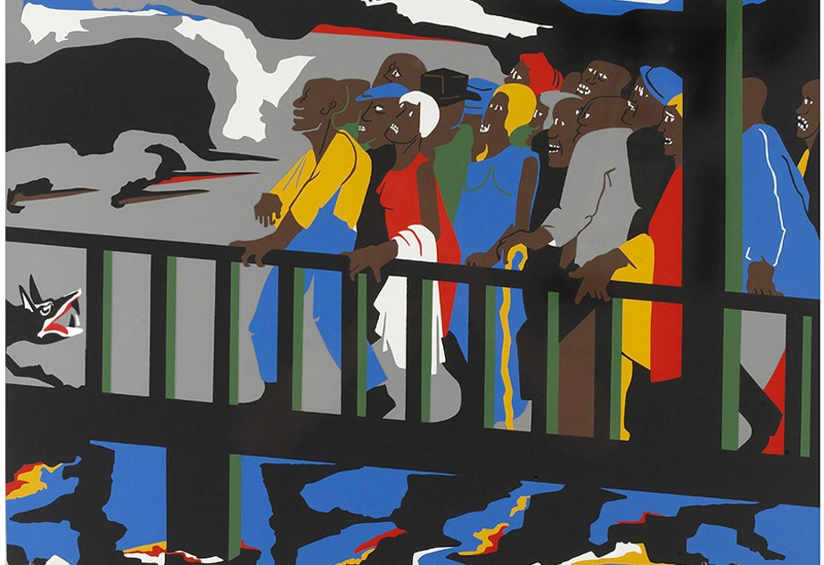"caption: Jacob Lawrence's ""Confrontation at the Bridge"", 1975"
