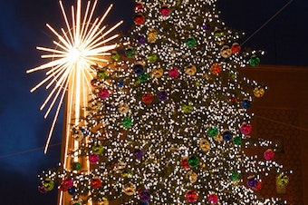 The Christmas Tree In Front Of Macy's In Downtown Seattle
