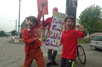 Kids on the picket lines in Seattle.
