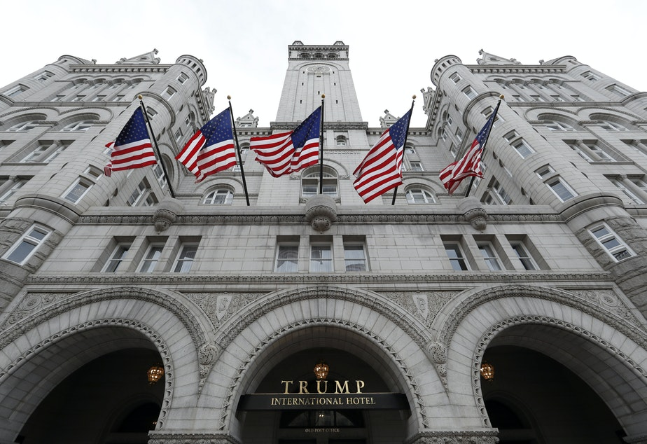 A December 2016 file photo of the Trump International Hotel in downtown Washington, D.C. The lawsuit is at the center of a lawsuit brought by Maryland and the District of Columbia governments against President Trump, arguing that his stake in the hotel violates the Constitution's emoluments clauses.