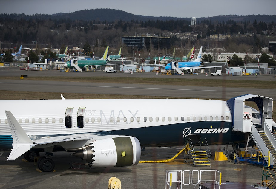 A Boeing 737 MAX aircraft is shown on Thursday, March 14, 2019, at the Boeing Renton Factory in Renton.