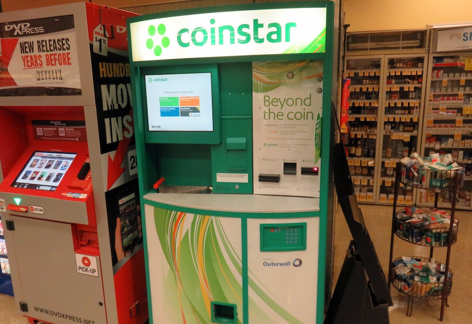 You can now buy bitcoin at select Coinstar kiosks in Washington and two other states, including at this one in Tumwater, Washington.