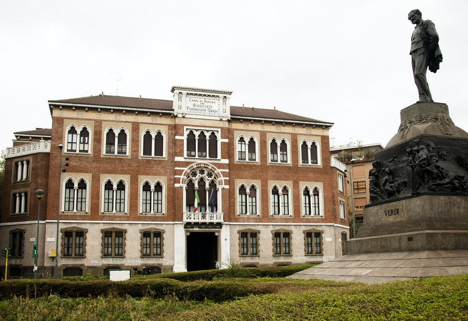 The exterior of Casa Verdi, founded by famed Italian composer Giuseppe Verdi in the late 1890s.