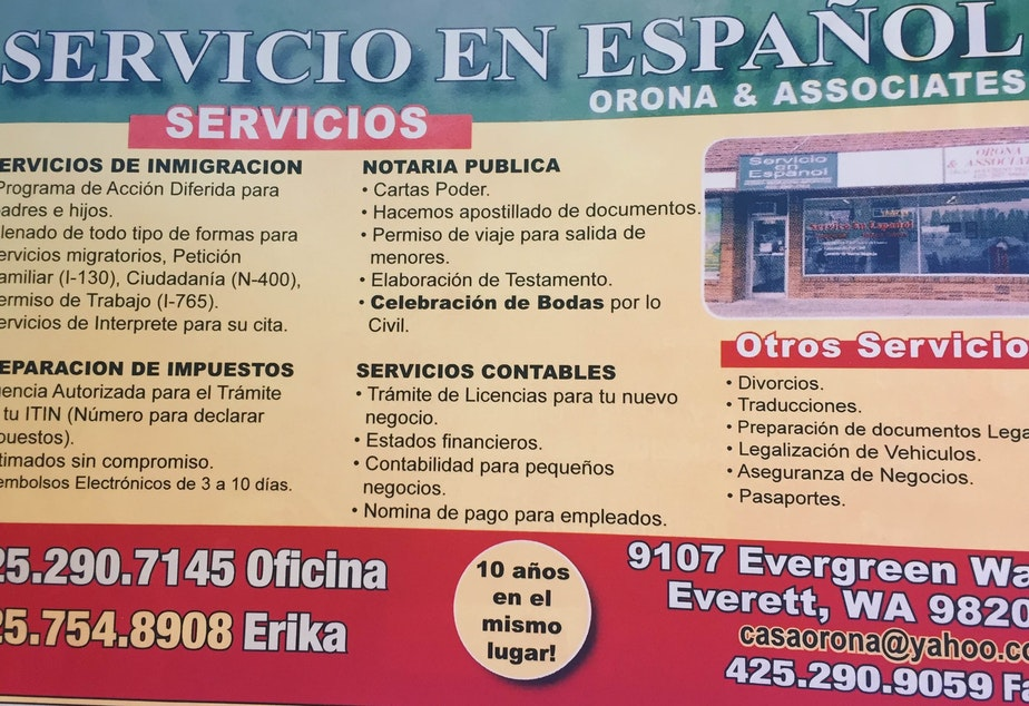caption: The Washington Attorney General's office has taken action against Orona & Associates in Everett, the business advertised here.  A consent decree assessed $8,000 in civil penalties and $1,500 in costs and fees.