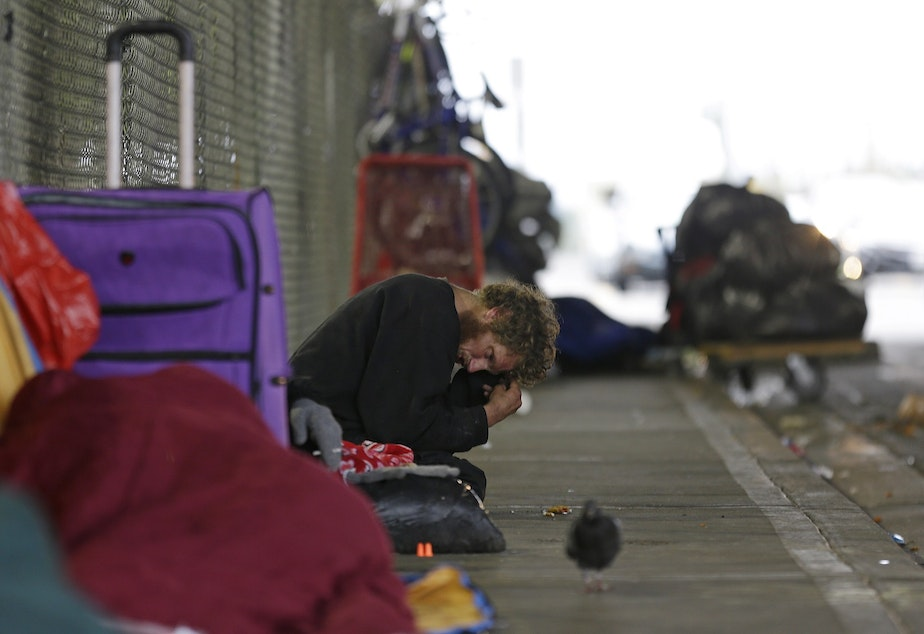 caption: In this Oct. 12, 2017 photo, Dominic, who battles mental illness, sits on a sidewalk under the Smith Ave. Bridge in Everett, Wash., which is a constant gathering place for homeless people battling addiction and mental illness. Dominic has been identified as one of the top chronic and costliest users of emergency and other services in Everett, but despite the efforts of a specialized team of experts, he remains on the streets.