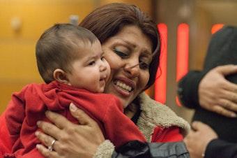 Neda Sharifi Khalafabadi at SeaTac Airport upon her arrival to the Seattle area.