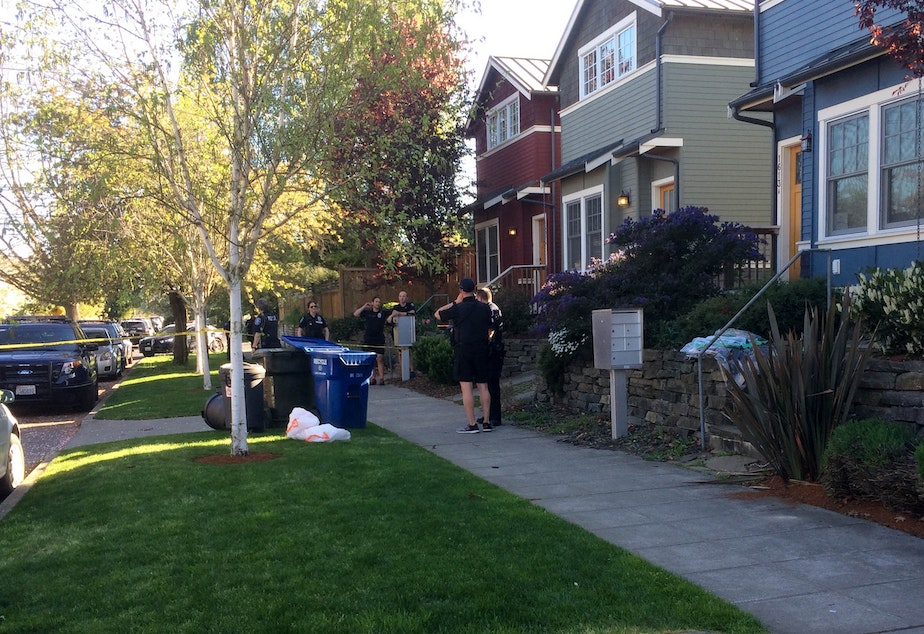 caption: The white garbage bags contained what appeared to be human remains. It was found by a resident on the 1600 block of 21st Avenue in Seattle's Central District.